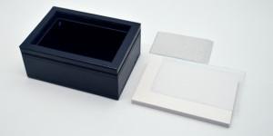 ネイビーレザーボックス らくらくボード(ハガキ判)・サイズ