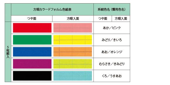 方眼カラードフォルム・カラー表