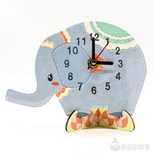 木のおえかき時計セット ぞう|作品例その2