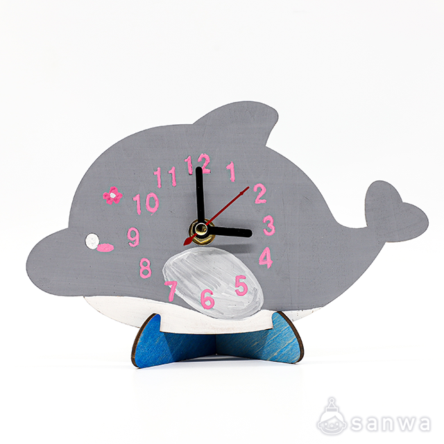 木のおえかき時計セット いるか|作品例その1