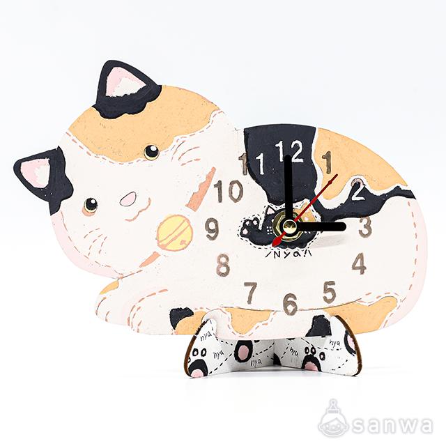 木のおえかき時計セット ねこ|作品例その2