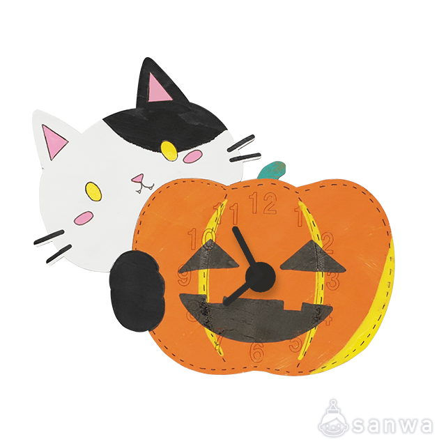 木のおえかき時計セット かぼちゃ|作品例